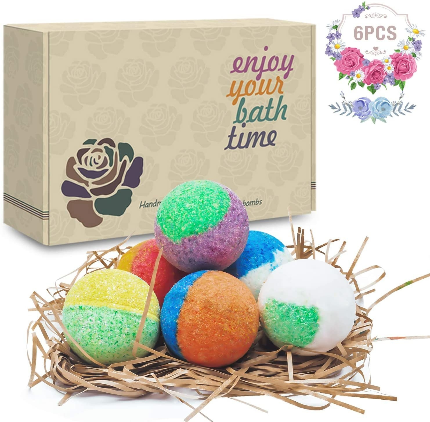 The six bath bombs in different colors