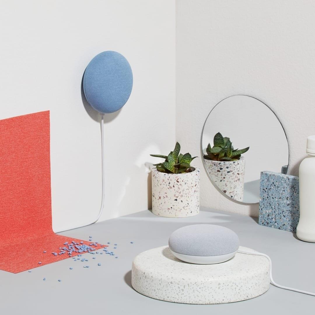 The circular speaker-like Google Home tools