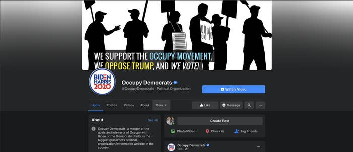 A screenshot of the Occupy Democrats Facebook page