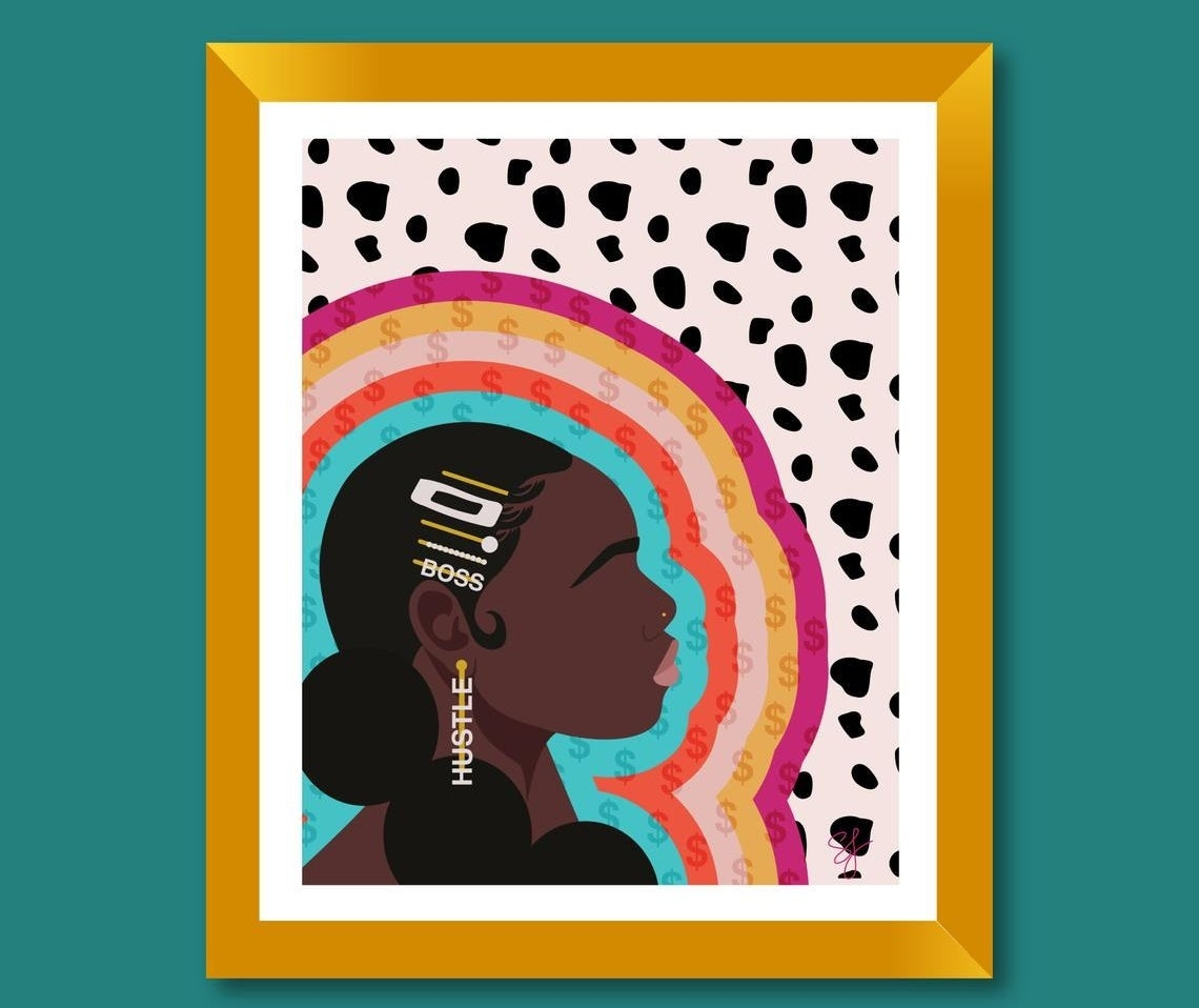 """Woman with several clips in hair, earrings that say """"hustle"""" on a Dalmatian print background with rainbow and dollar signs framing her face"""