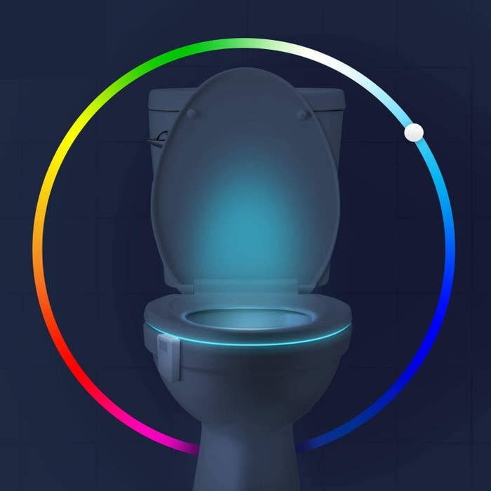 A toilet bowl lit up from within