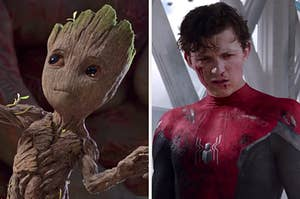 """On the left, Baby Groot from """"Guardians of the Galaxy Vol. 2,"""" and on the right, Tom Holland as Spider-Man in """"Spider-Man: Far From Home"""""""