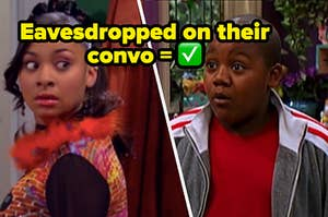 """Raven Baxter is on the left looking over her shoulder with Cory looking surprised labeled, """"Eavesdropped on their convo"""""""