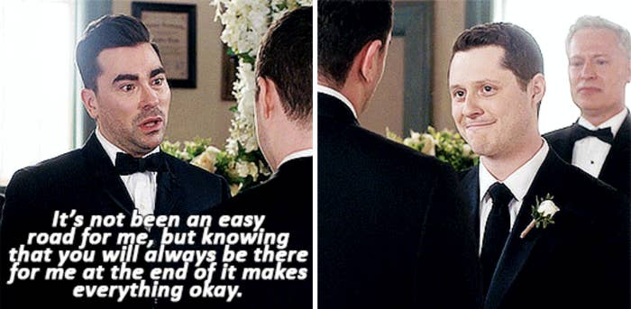 at their wedding, David tells Patrick things haven't always been easy for him, but knowing Patrick will be there for him at the end of the day makes everything okay