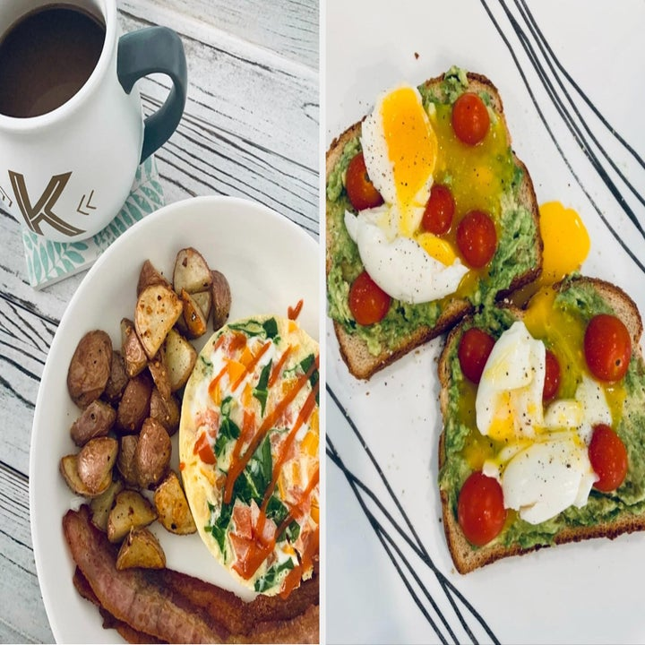 Reviewer images of an omelette and two poached eggs on avocado toast