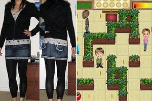 一个典型的早期2000年穿搭搭配leggings和牛仔短裙,和扎克和科迪迪斯尼频道游戏
