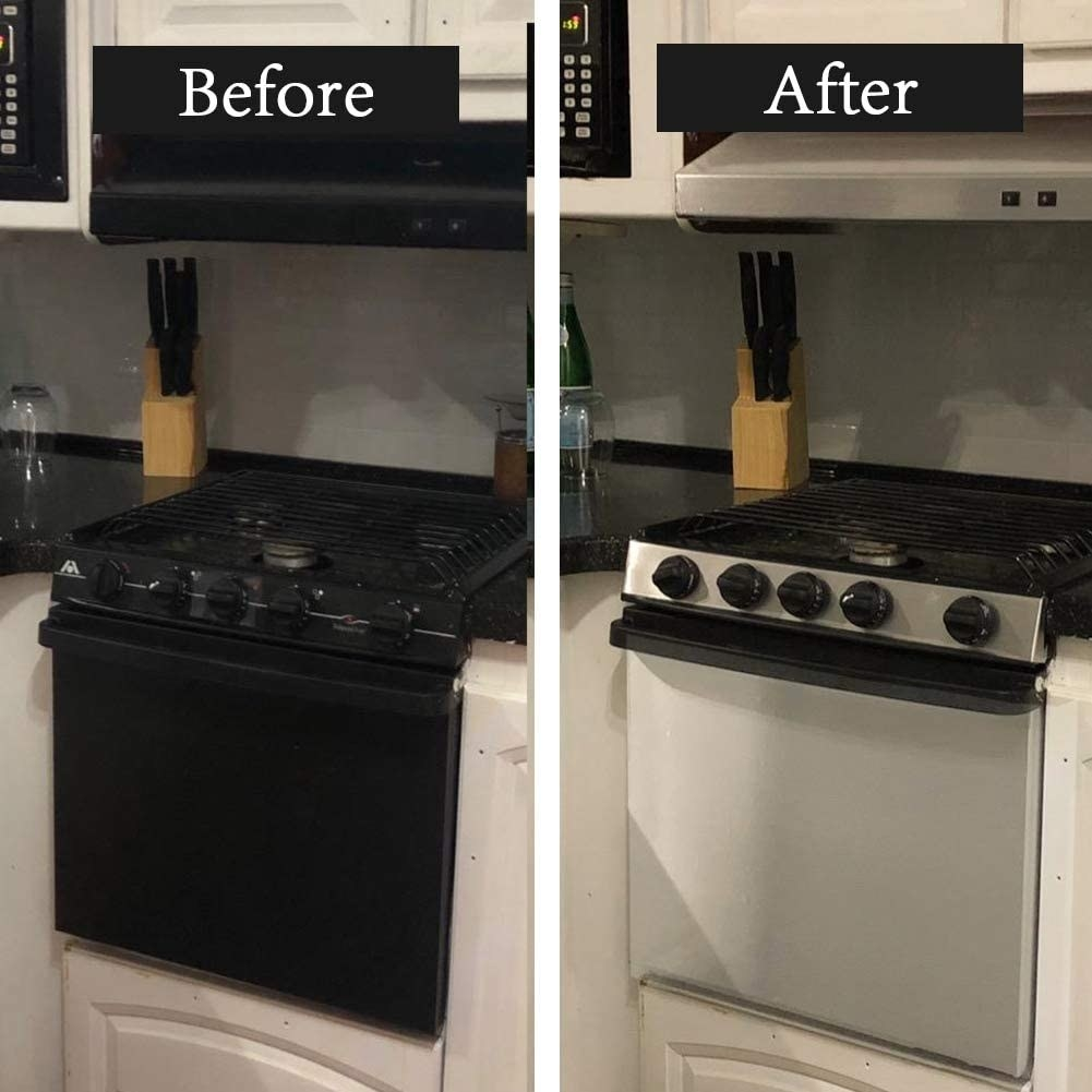 The same stove with and without the contact paper on it