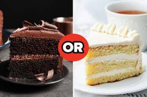 Chocolate cake or vanilla cake