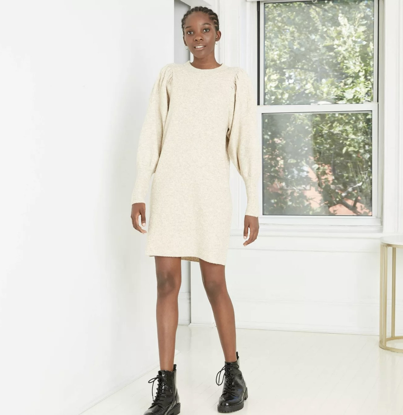 neutral sweater dress with balloon sleeves