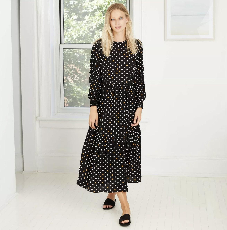 long-sleeve polka-dot tiered dress