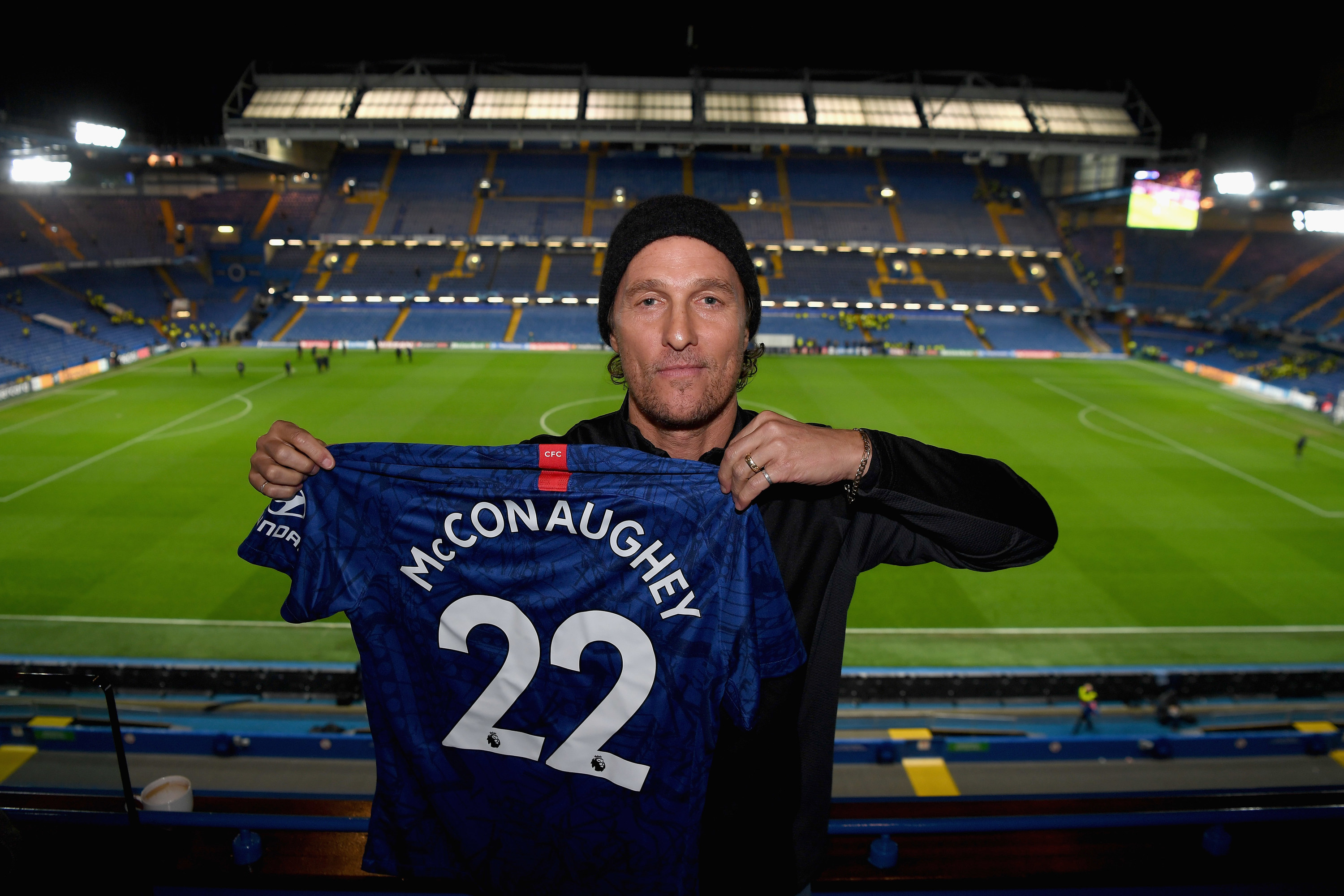 American actor Matthew McConaughey poses after the UEFA Champions League group H match between Chelsea FC and Lille OSC at Stamford Bridge on December 10, 2019 in London, United Kingdom.