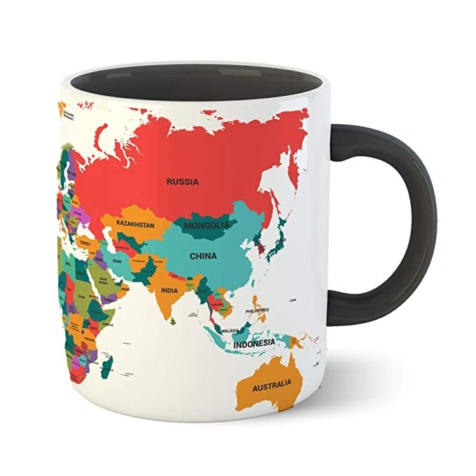 Multicoloured mug with the world map printed on it.