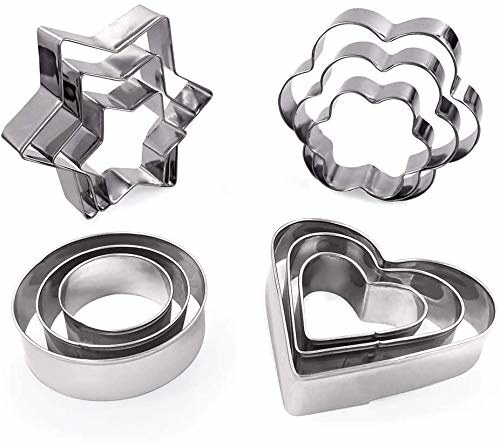 Flower, circle, star and heart shaped cookie cutters in three sizes each.