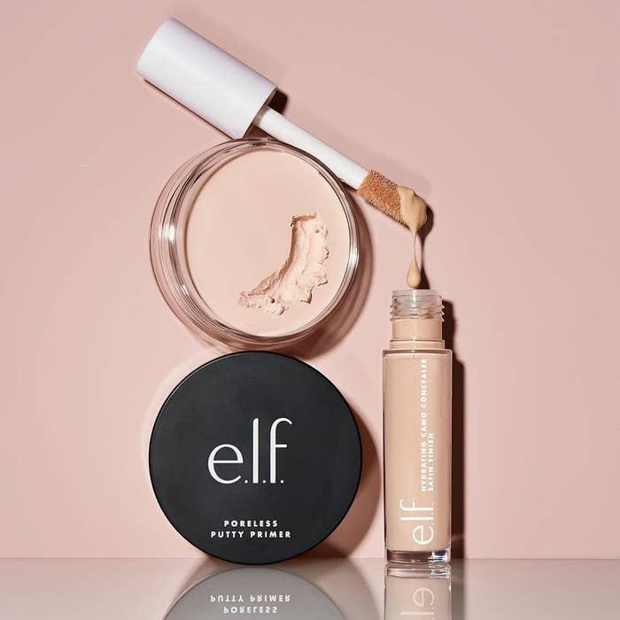 elf primer and concealer over light pink background