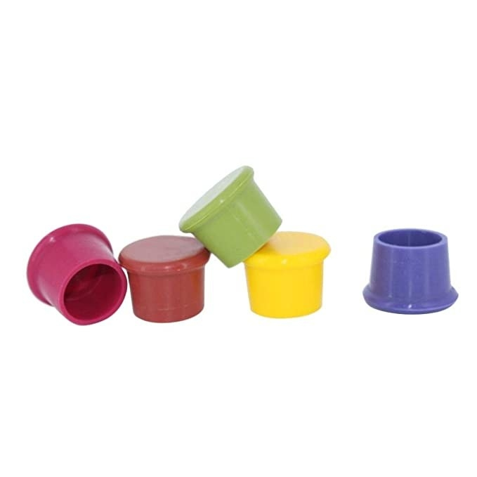Multicoloured silicone wine stoppers.