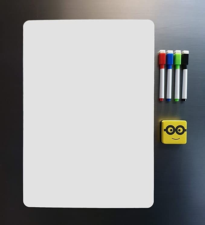 Magnetic white board on a fridge.
