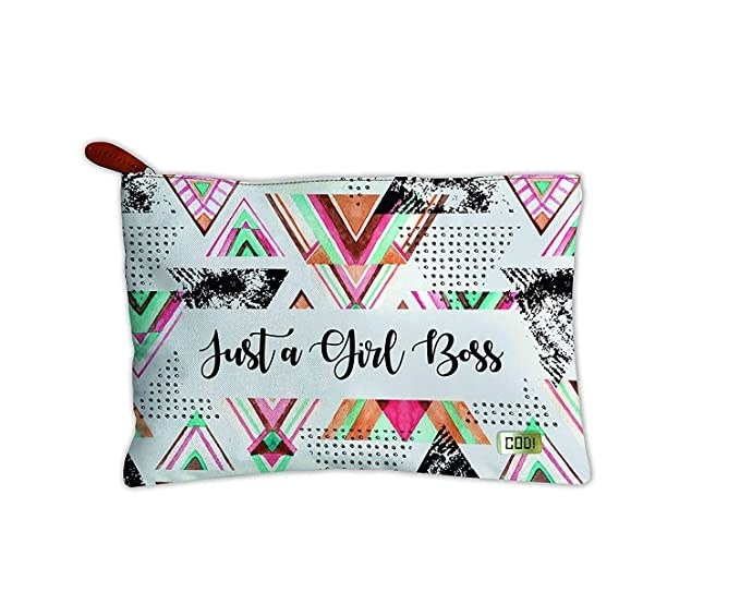 Aztec pouch with the words 'Just a Girl Boss' printed on it.