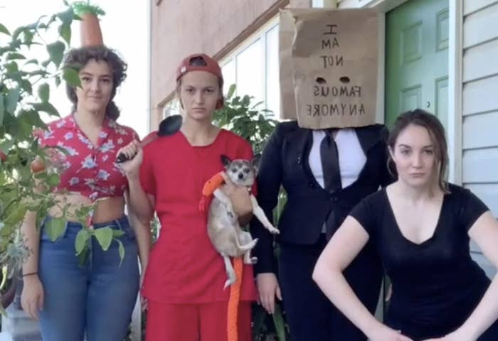 A group of friends wear Shia LaBeouf costumes from various stages of his life