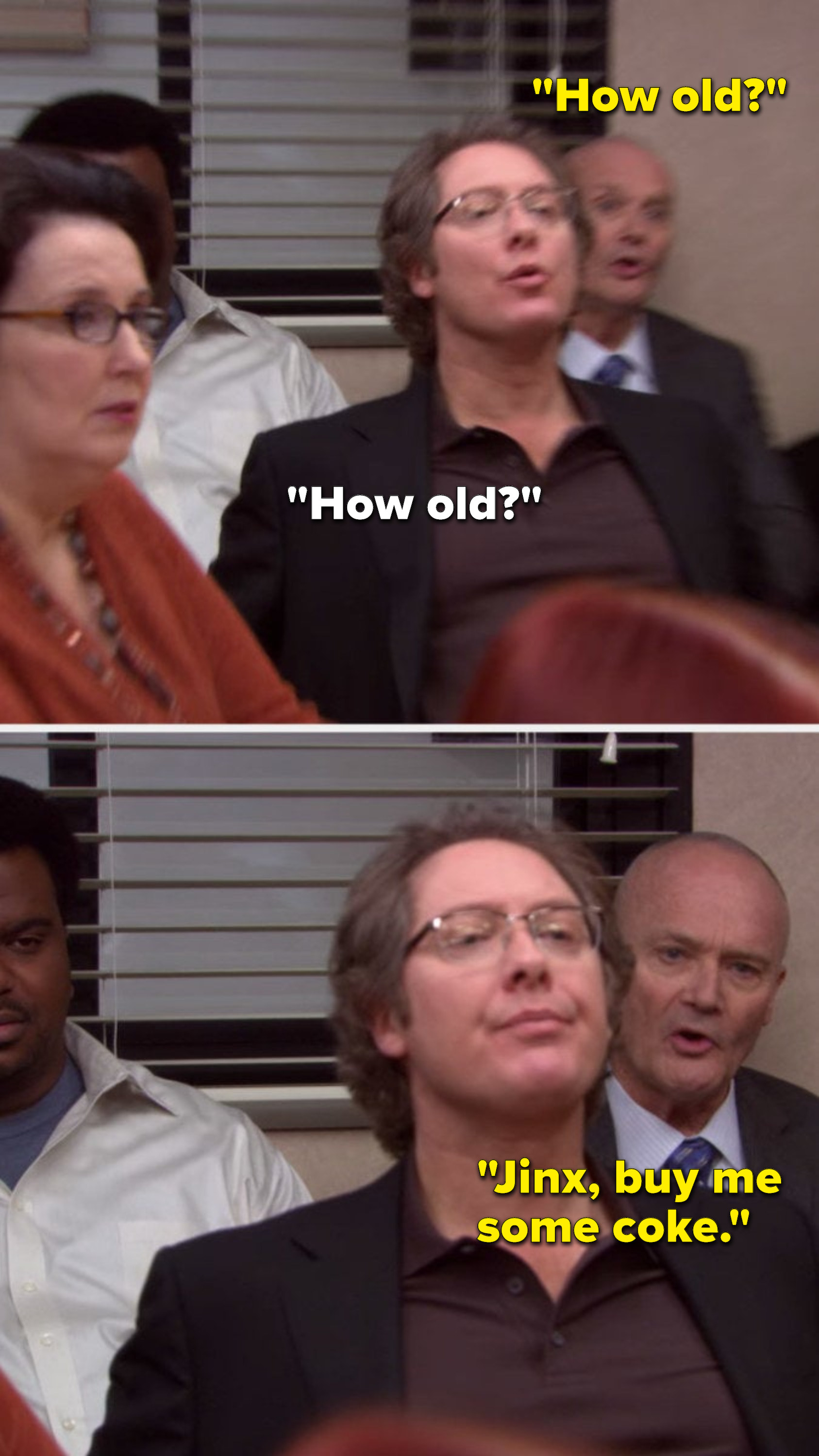 """Robert California and Creed both ask, """"How old,"""" and Creed says, """"Jinx, buy me some coke"""""""