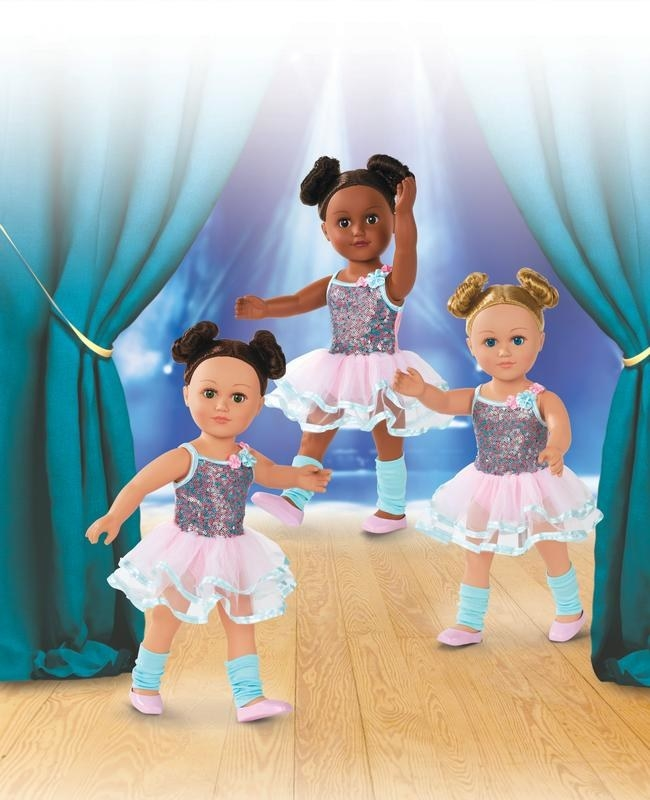 three poseable ballerina dolls with a leotard and tutu