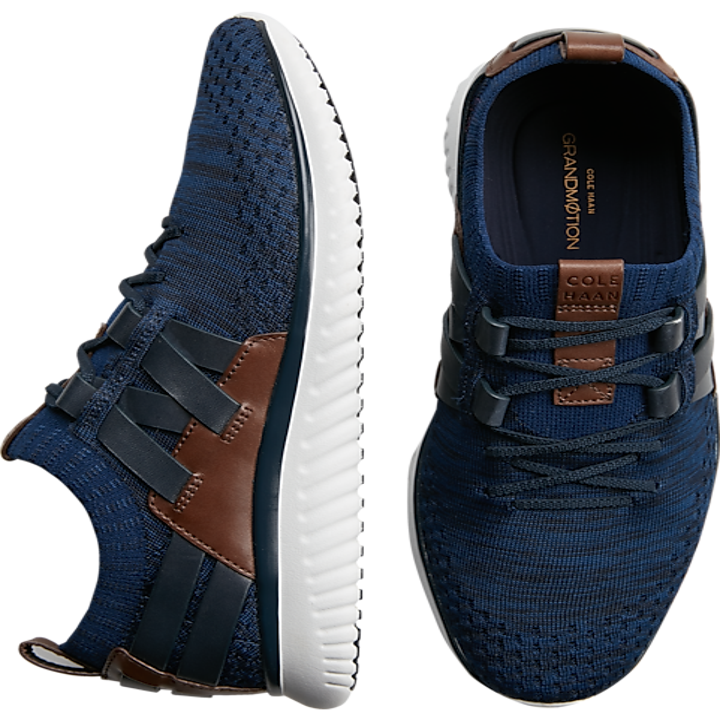blue and brown lace-up sneakers