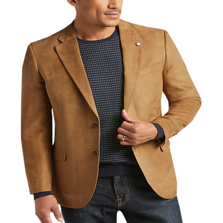 Model wearing suede tan blazer