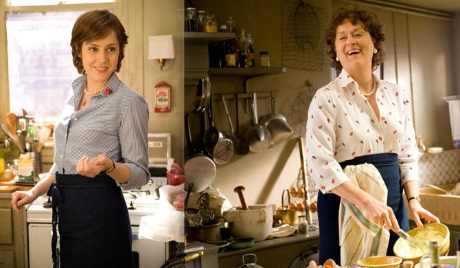 Side by side of Julie Powell (played by Amy Adams) and Julia Childs (played by Meryl Streep)
