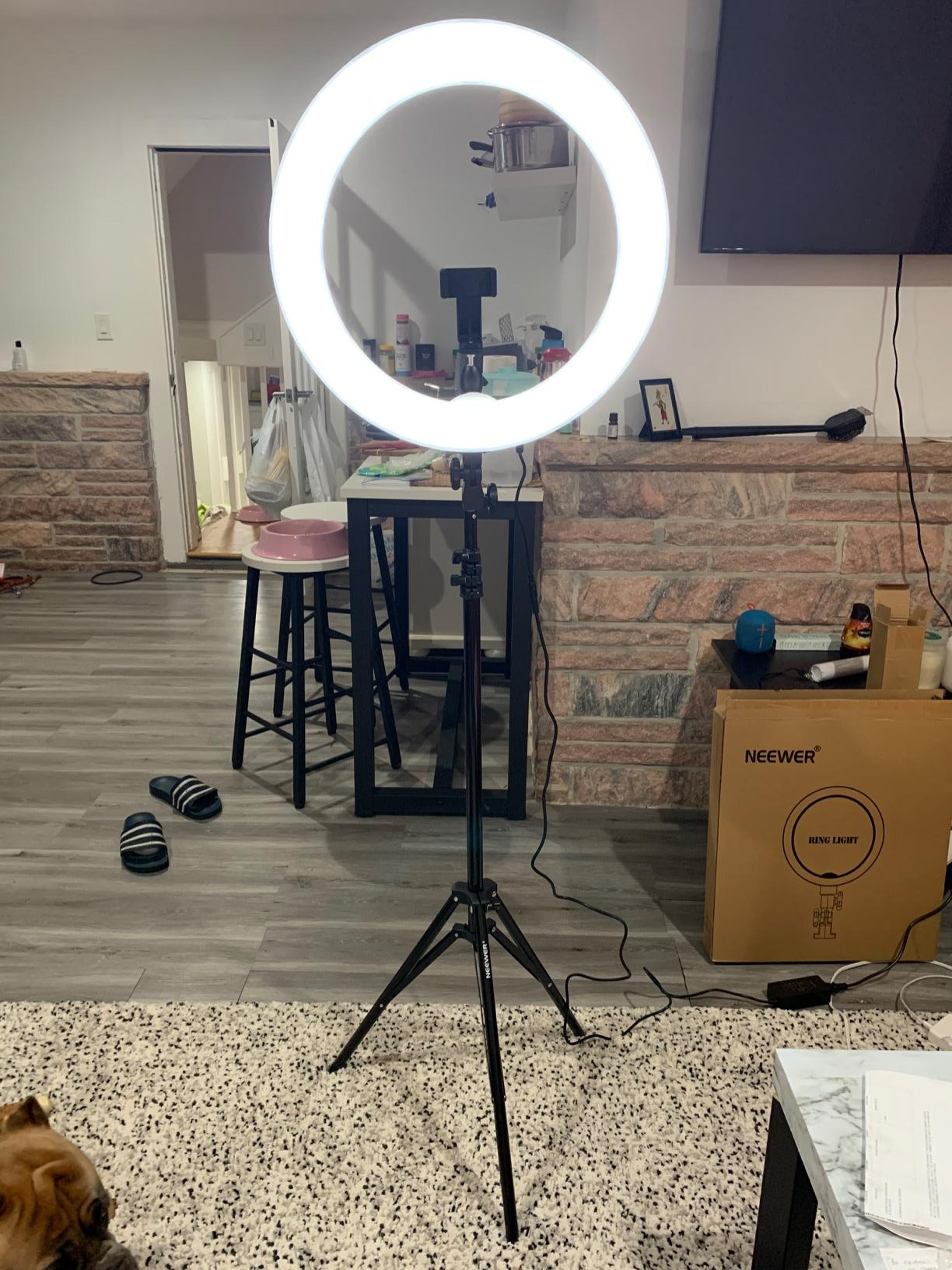 Reviewer's selfie ring light in a room
