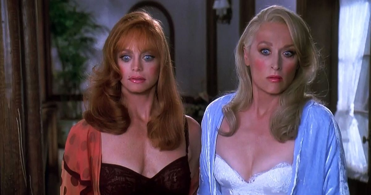 Goldie Hawn and Meryl Streep with surprised expressions on their face
