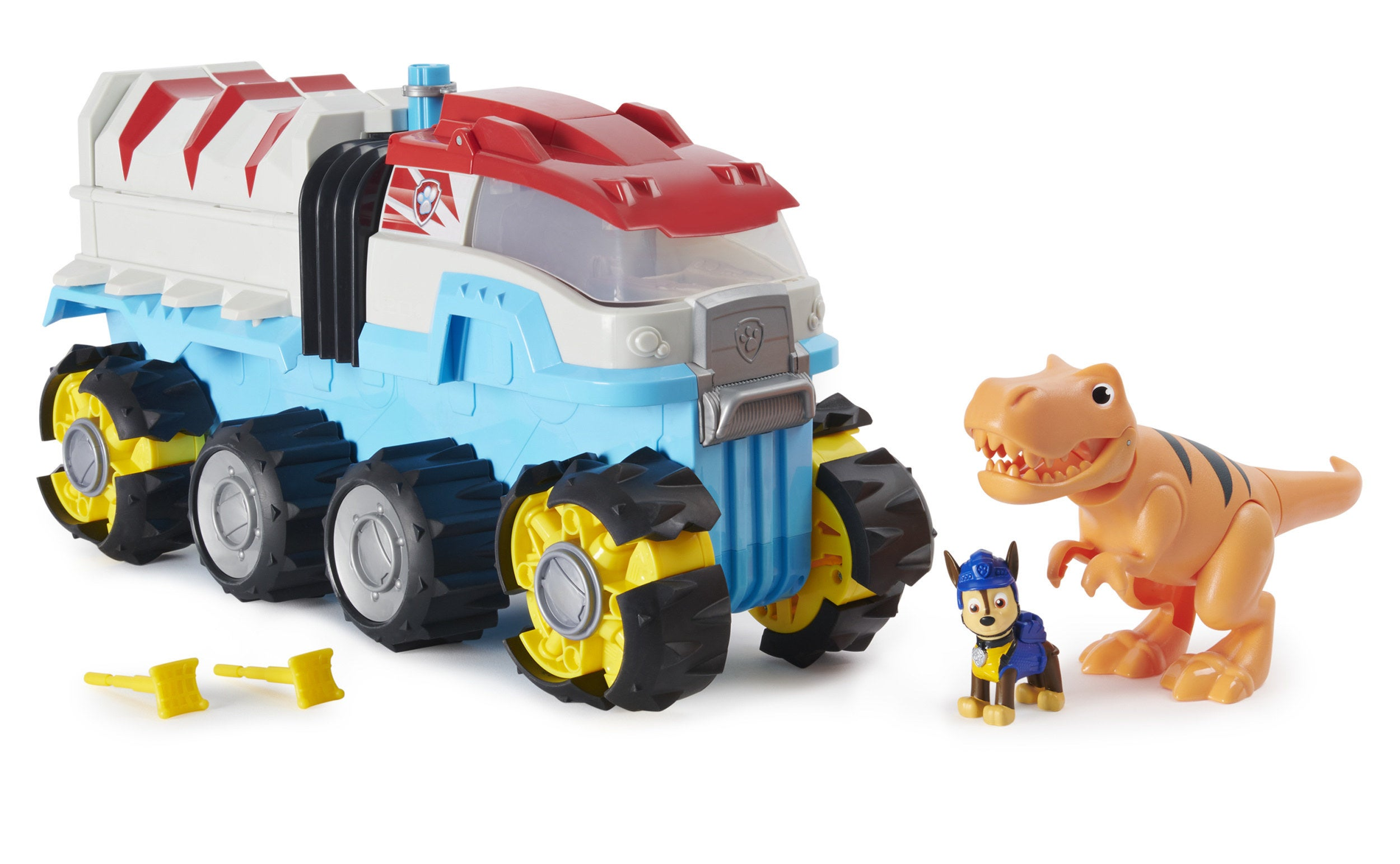 a paw patrol vehicle with a chase and t rex figurine
