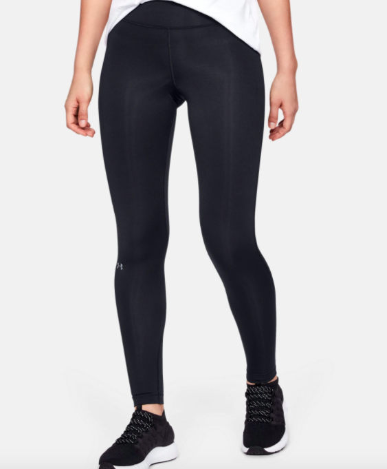 model wearing UA cold gear leggings in black