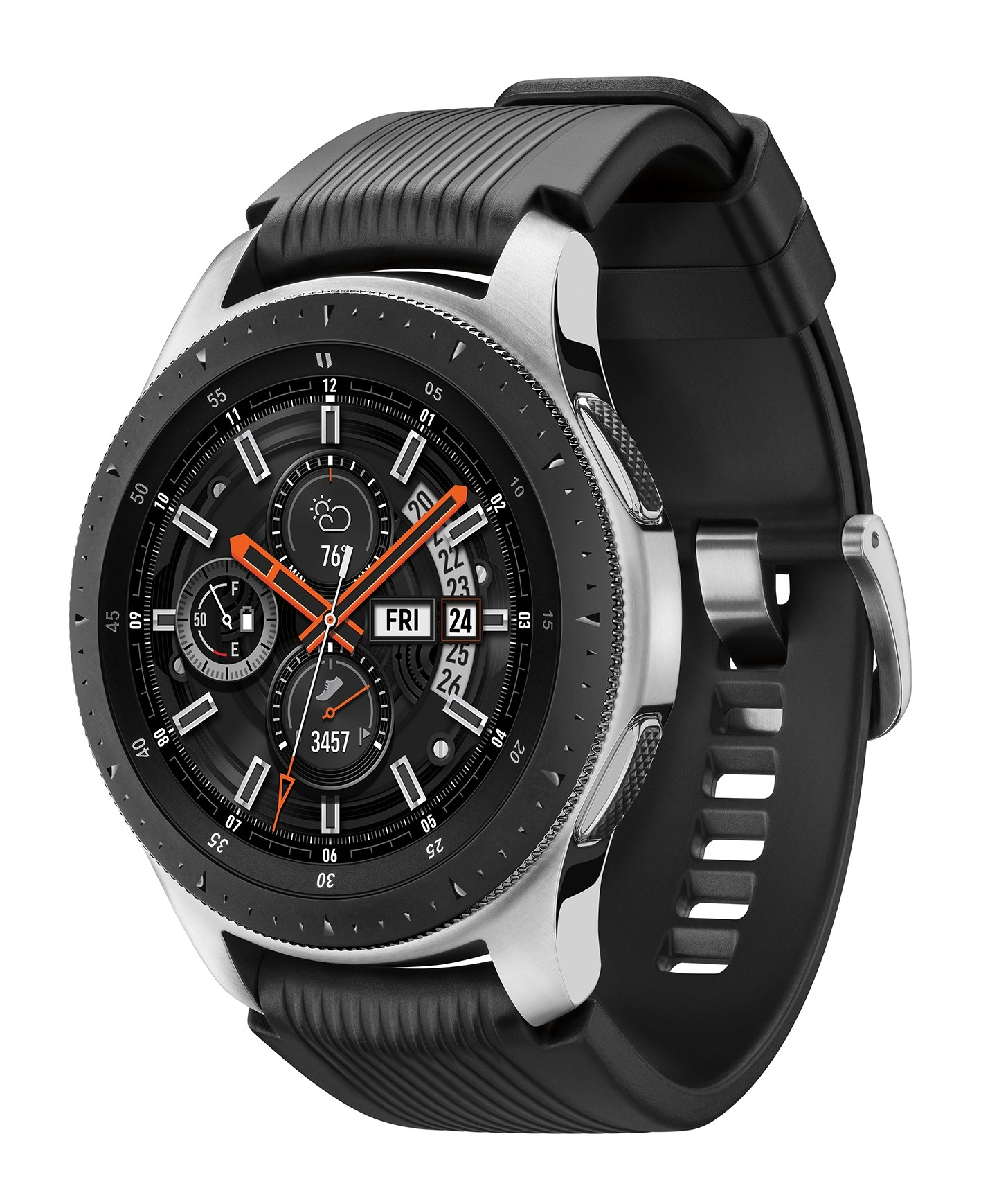 black galaxy smart watch with a traditional looking watch face