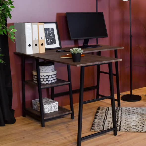 the desk in brown