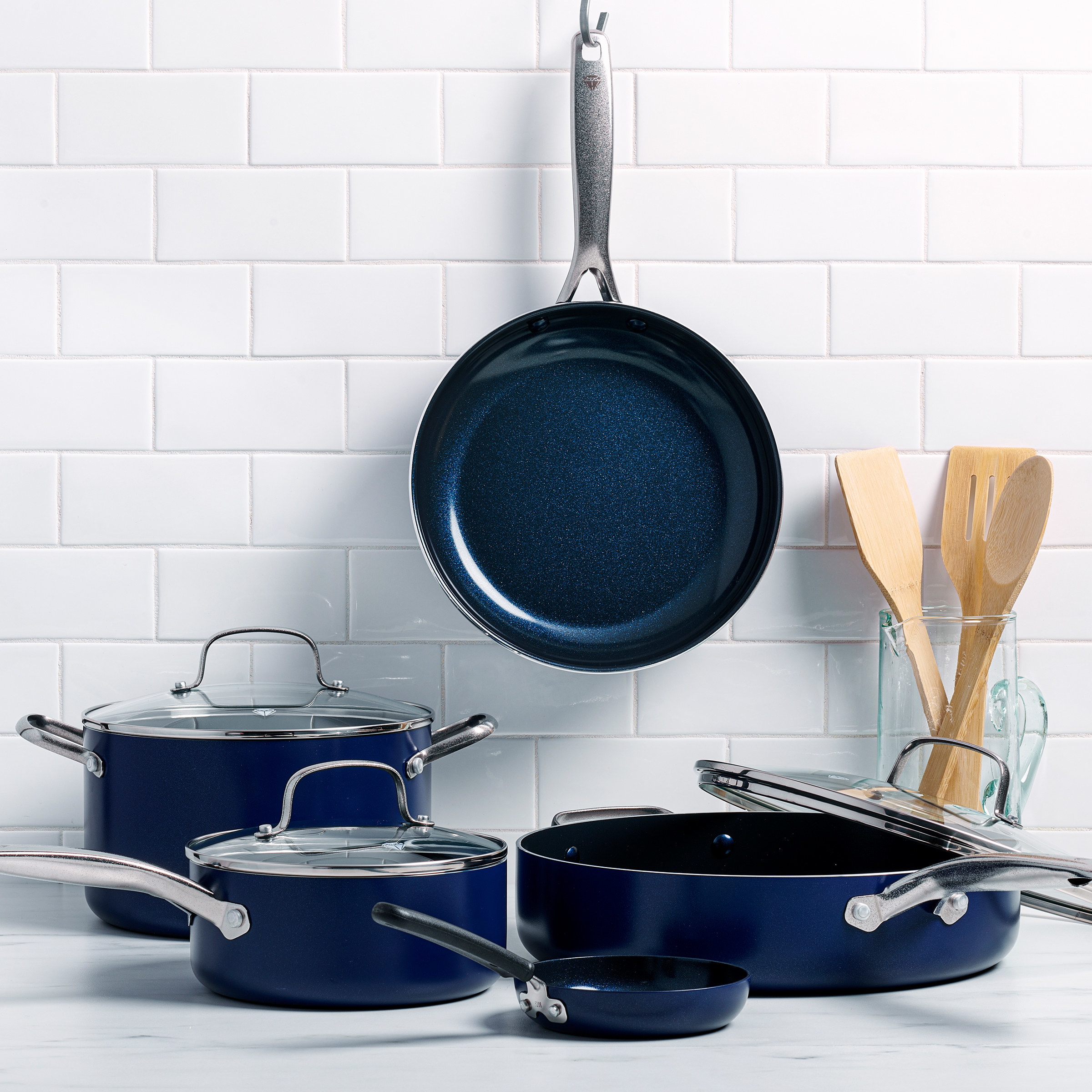 blue cookware set on a kitchen counter