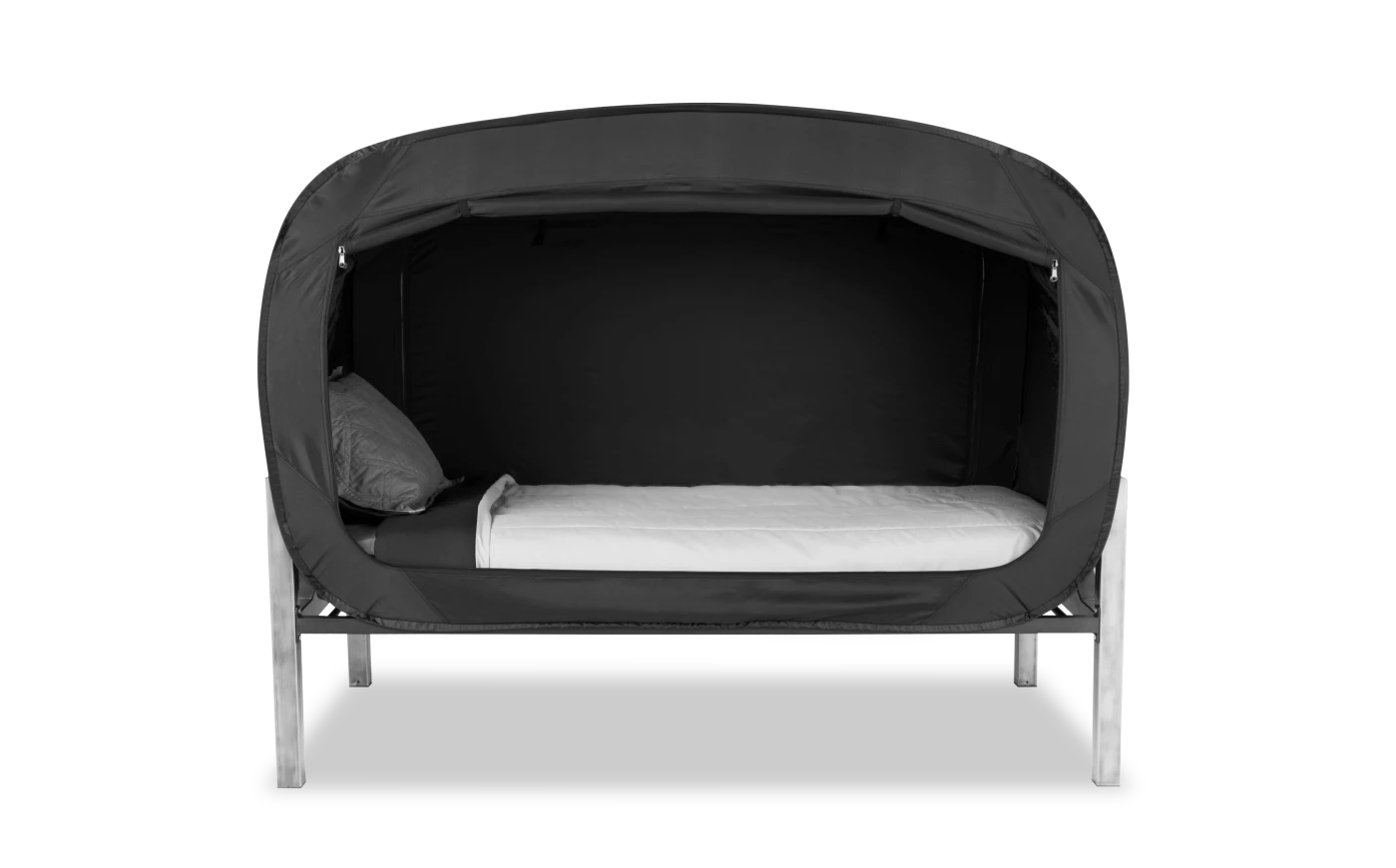 the bed tent in black wrapping around the bed like a bubble