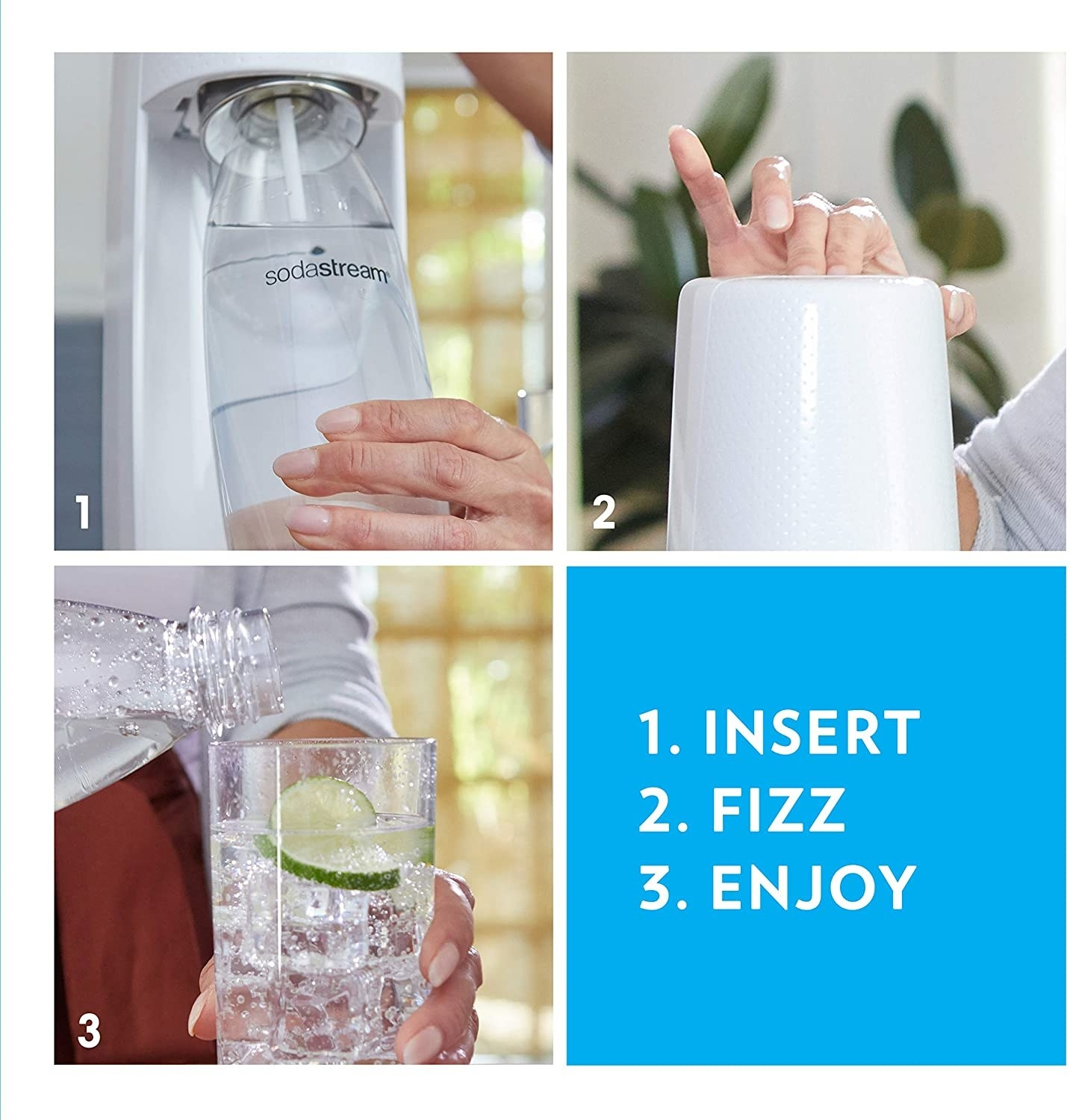 Infographic showing the three steps it takes to use it: insert the bottle, press the button to carbonate it, and then enjoy