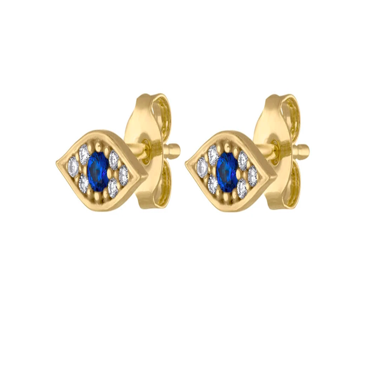 The earrings with blue stone eyes in a gold setting