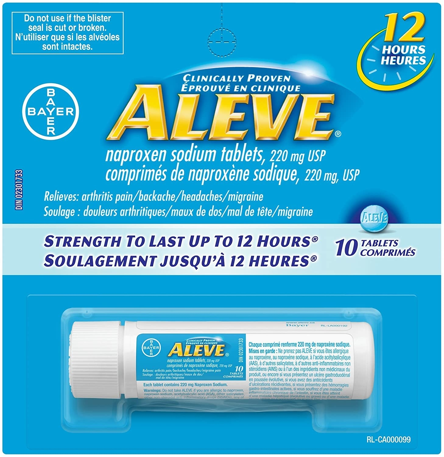 The travel bottle of naproxen in its package