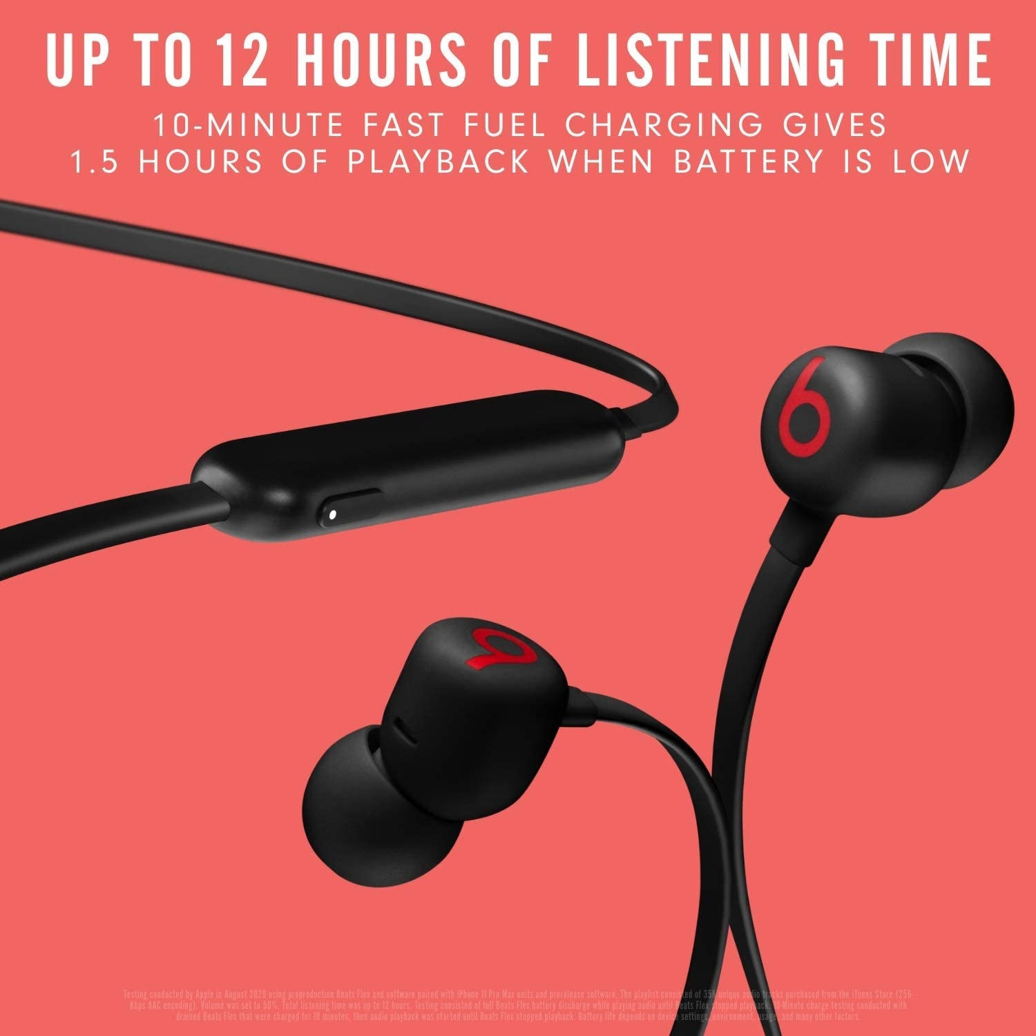"""the earbuds with a caption """"up to 12 hours of listening time"""""""