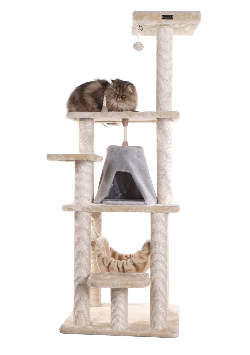 cat condo and scratching post tower with a cat sitting on top of it