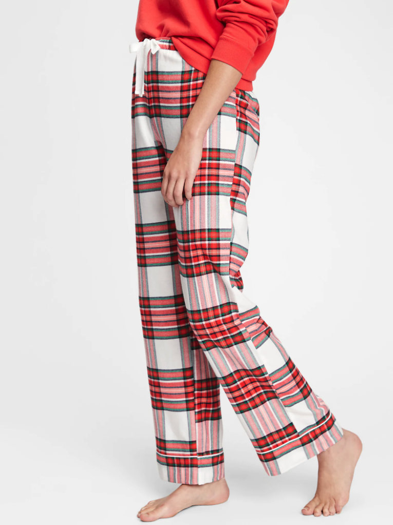 model wearing red plaid pj pants