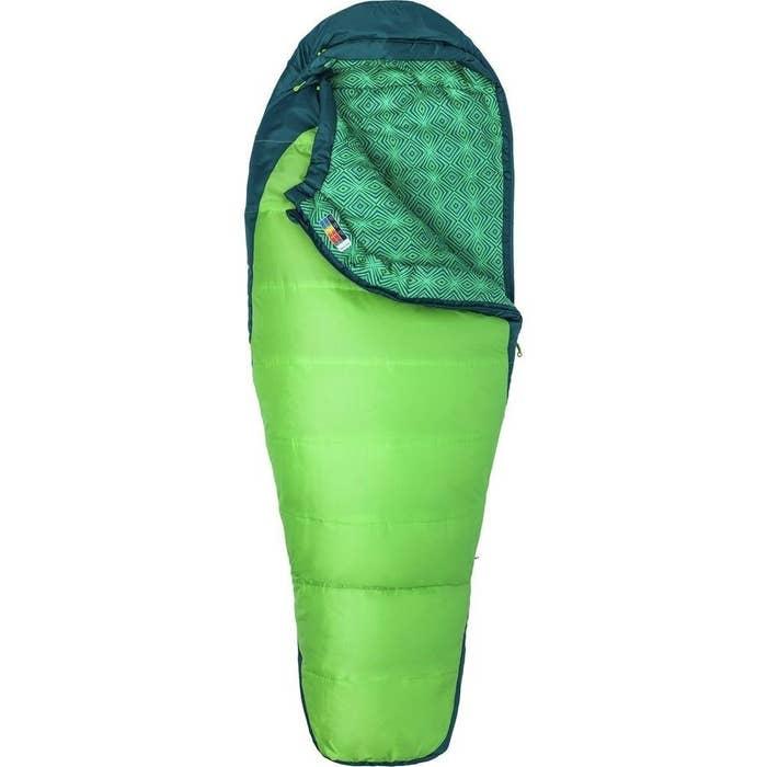 The green mummy-style sleeping bag