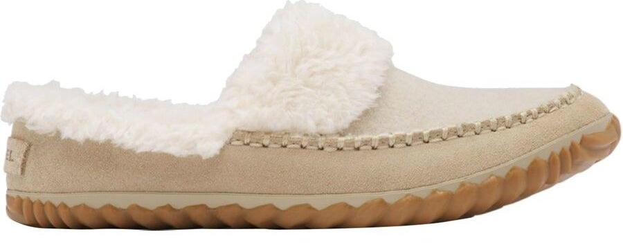 tan suede slippers with tan felt on the top part of the upper