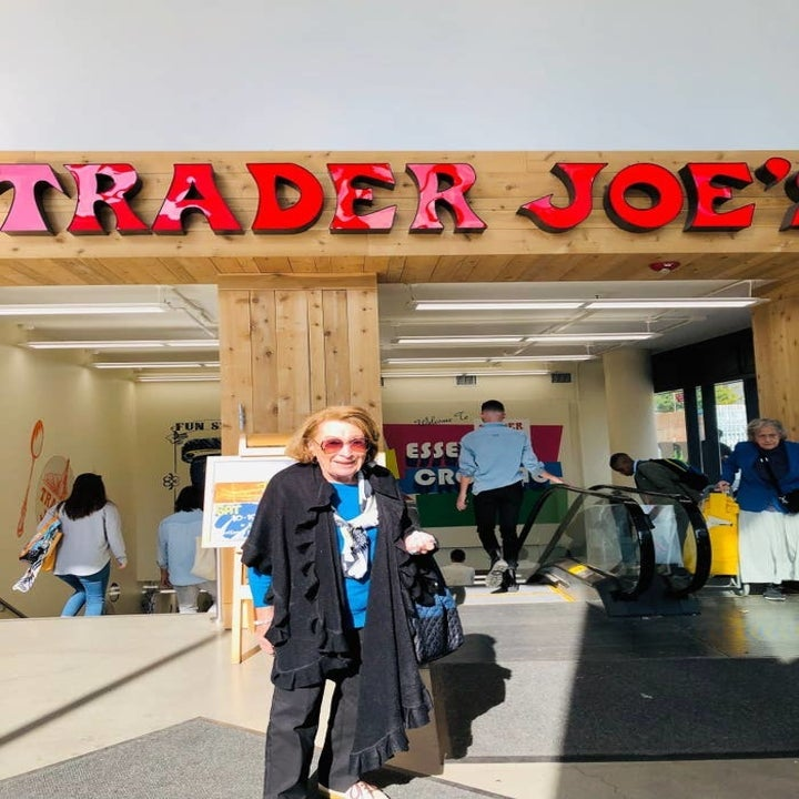 My grandmother outside a Trader Joe's store.
