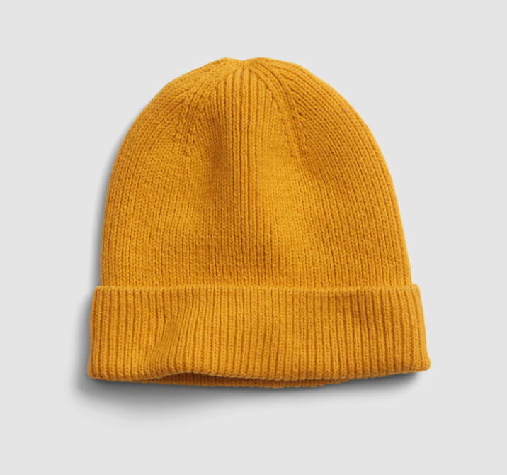 the beanie in mustard yellow