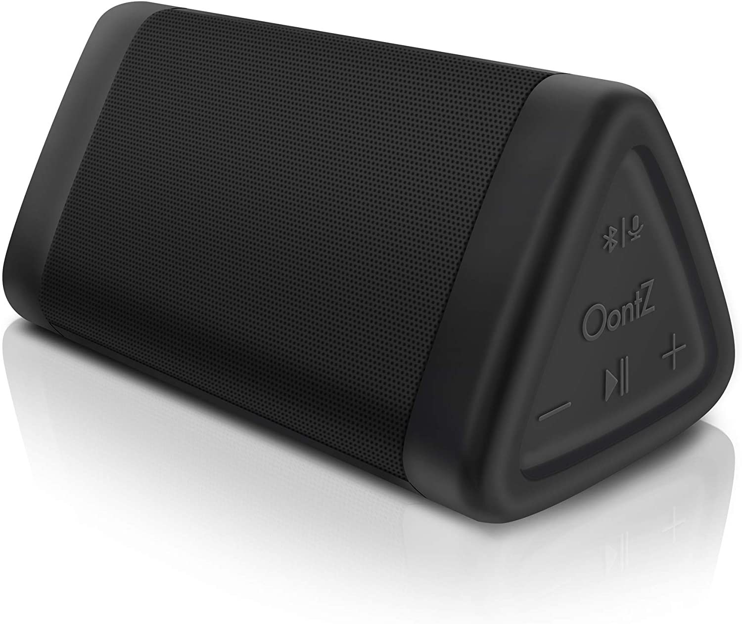 Oontz black Bluetooth speaker with control buttons on the side