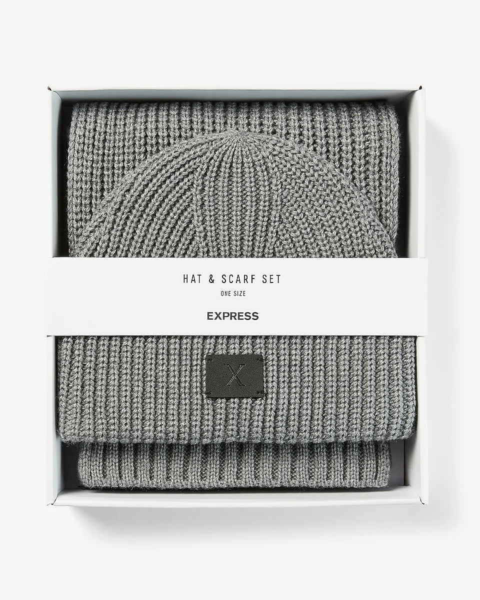 grey ribbed beanie and scarf