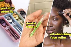Four small containers with utensils in them, A person's hand with a reusable dental flosser in it, A person using a small facial roller on their forehead