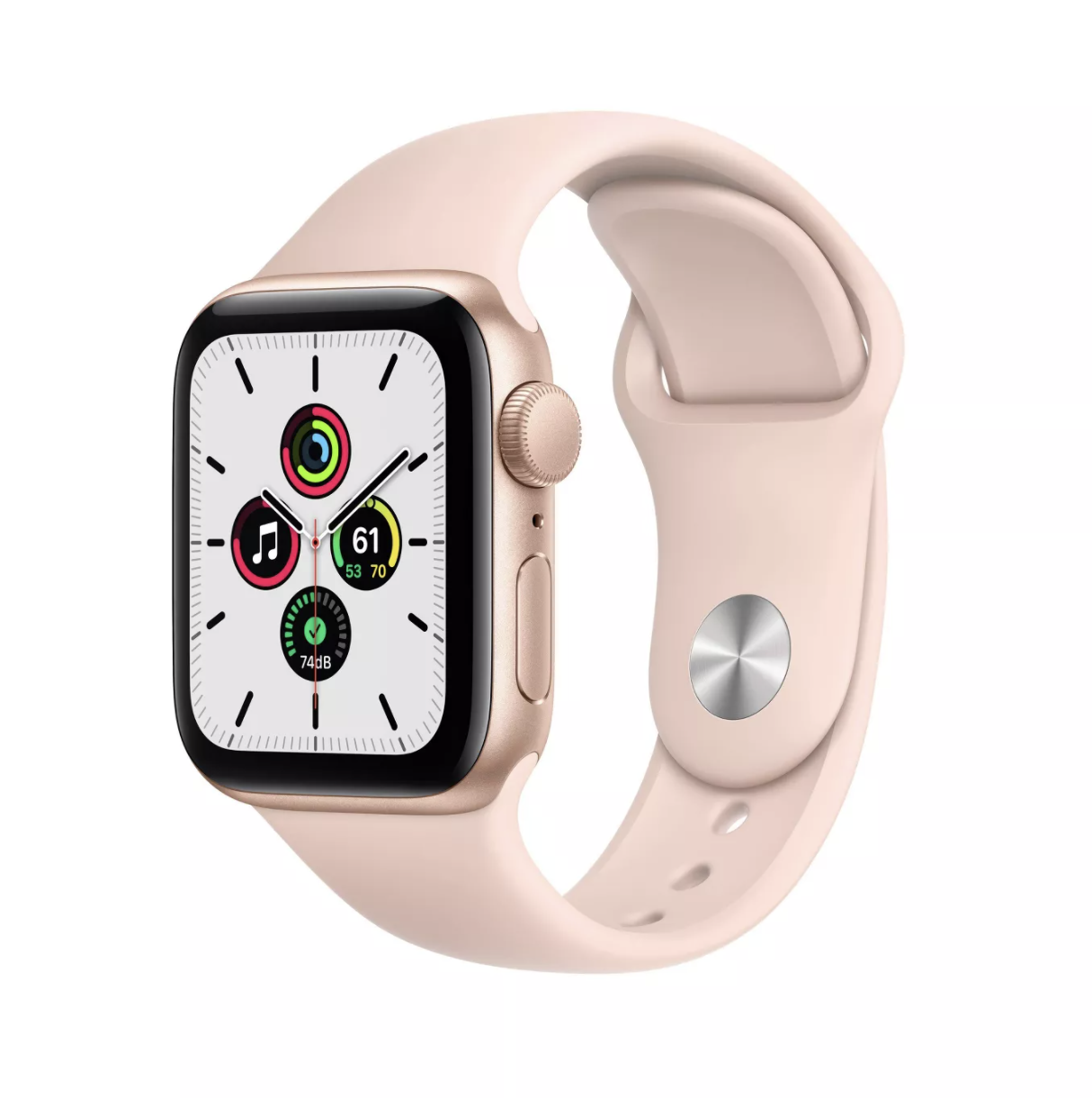 Rose gold Apple Watch with matching pink band