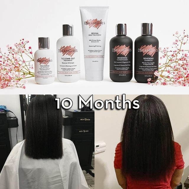 Shoulder length hair before using the healthy hair starter kit // Bra strap length hair after using the kit for 10 months